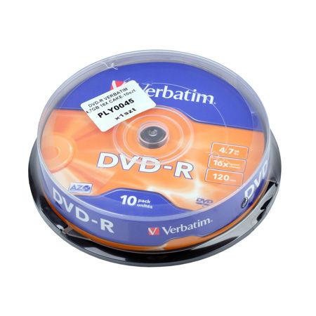 DVD-R VERBATIM 4,7GB 16X CAKE 10BUC | wauu.ro