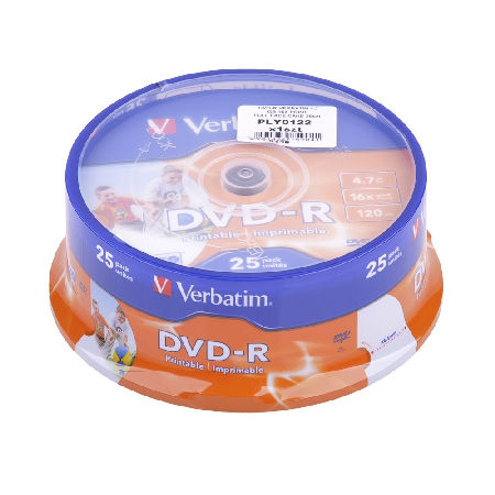 DVD-R VERBATIM 4,7 GB 16X PRINTABLE 25 BUC | wauu.ro