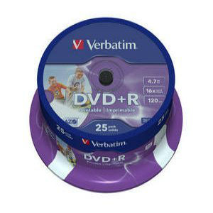 DVD+R VERBATIM 4,7 GB 16X PRINTABIL CAKE 25B | wauu.ro